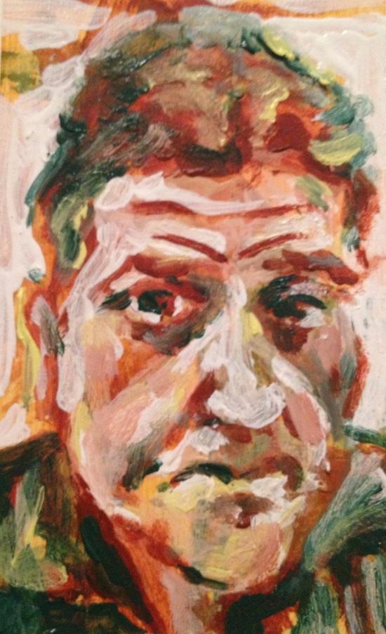 "'Self-Portrait' 2013 Acrylic on paper. 3"" x 5"""